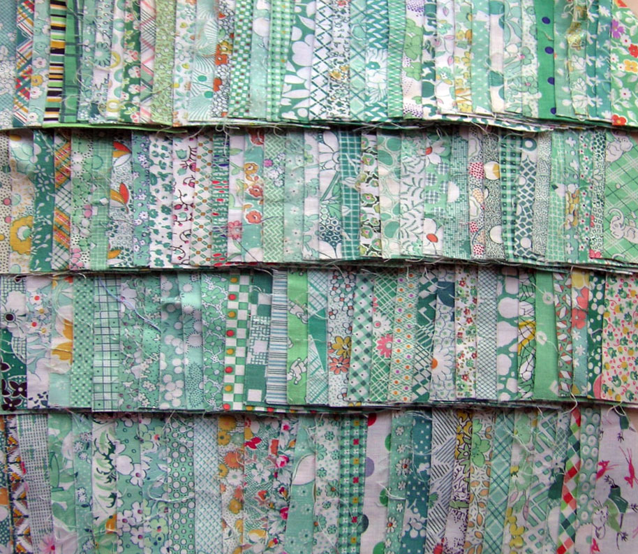 Vintage-Green-Fabric-Triangles-1