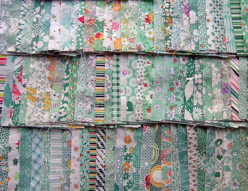 Vintage-Green-Fabric-Triangles-3