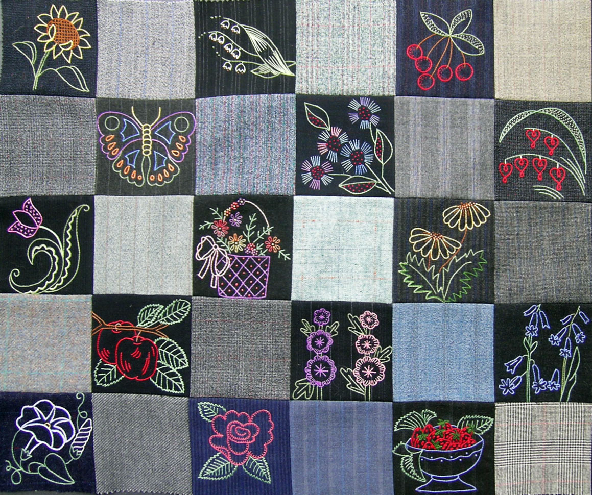 Embroidered Wool Quilt WIP – Rows 4 & 5 – Q is for Quilter : woolen quilt - Adamdwight.com
