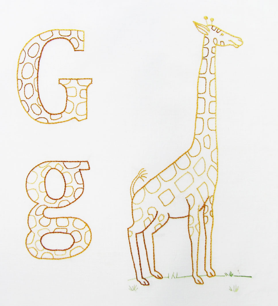 abc embroidered quilt block u2013 giraffe u2013 q is for quilter