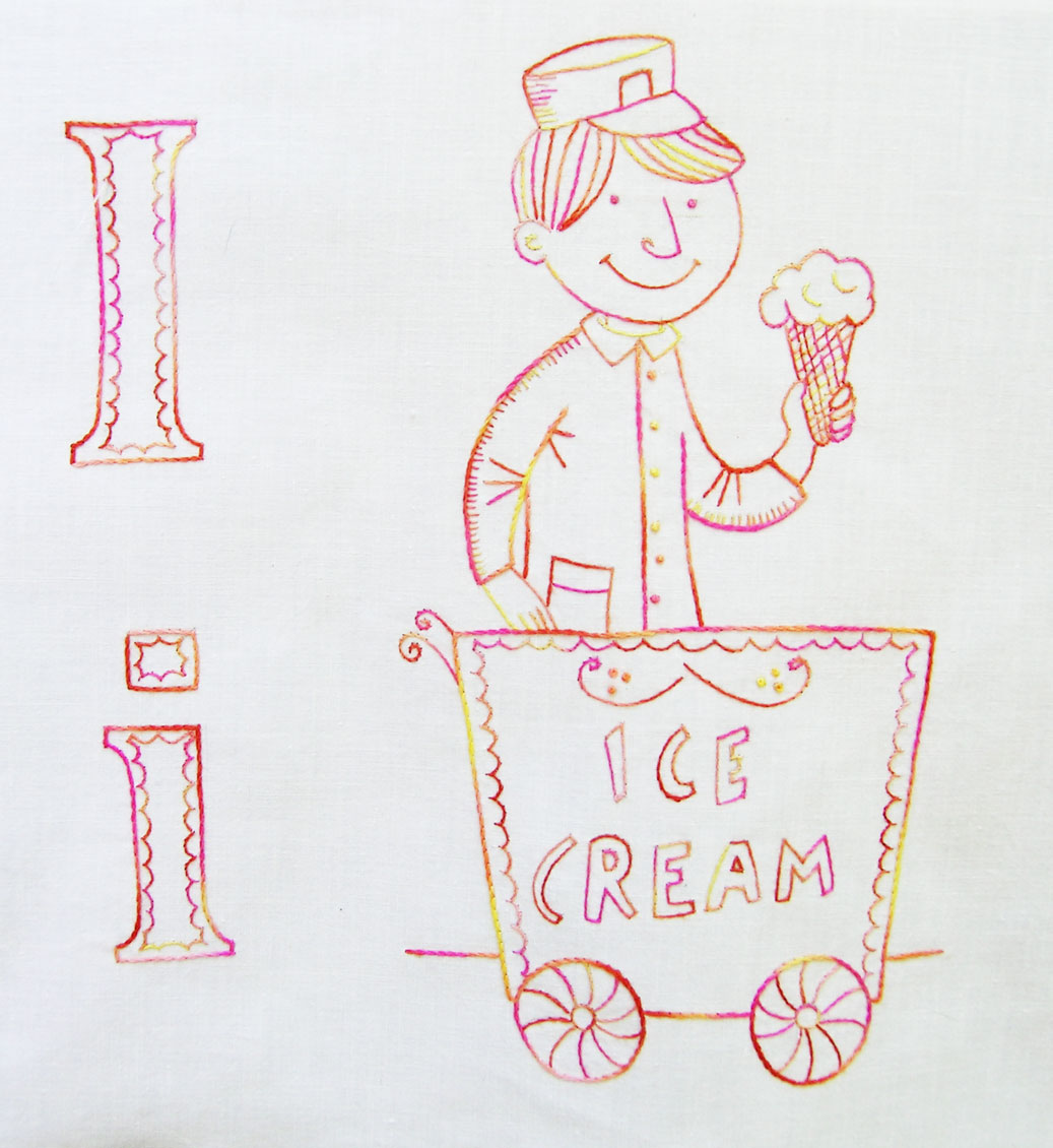 Ice Cream Seller Drawing Quilt Block — Ice Cream