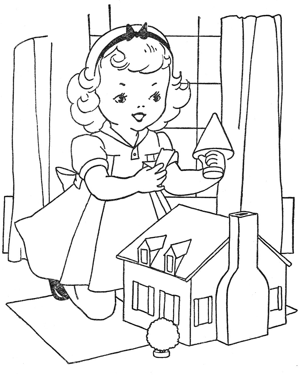 coloring pages doll house alltoys for