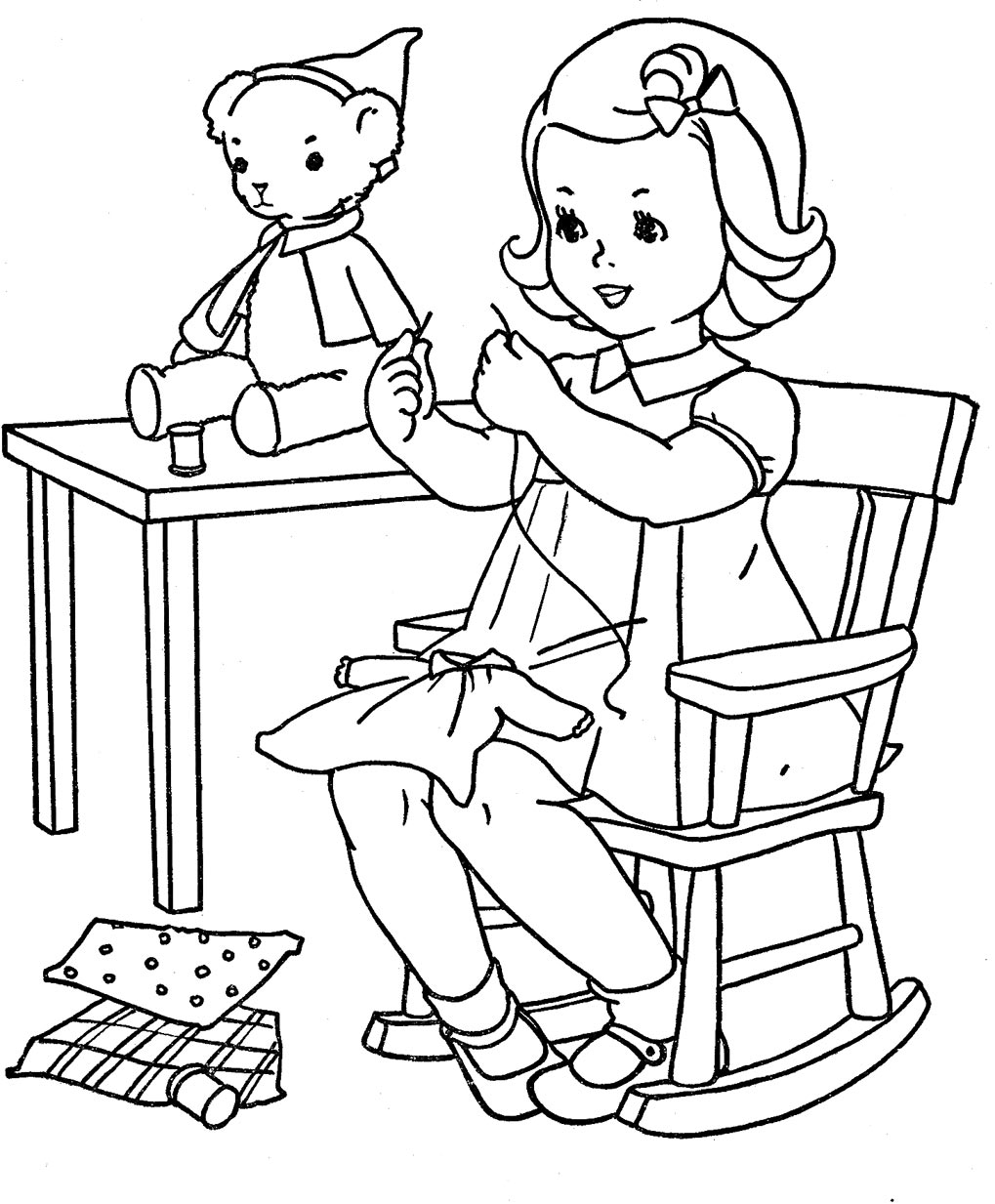 Favorite paint book little girls q is for quilter for Retro coloring pages