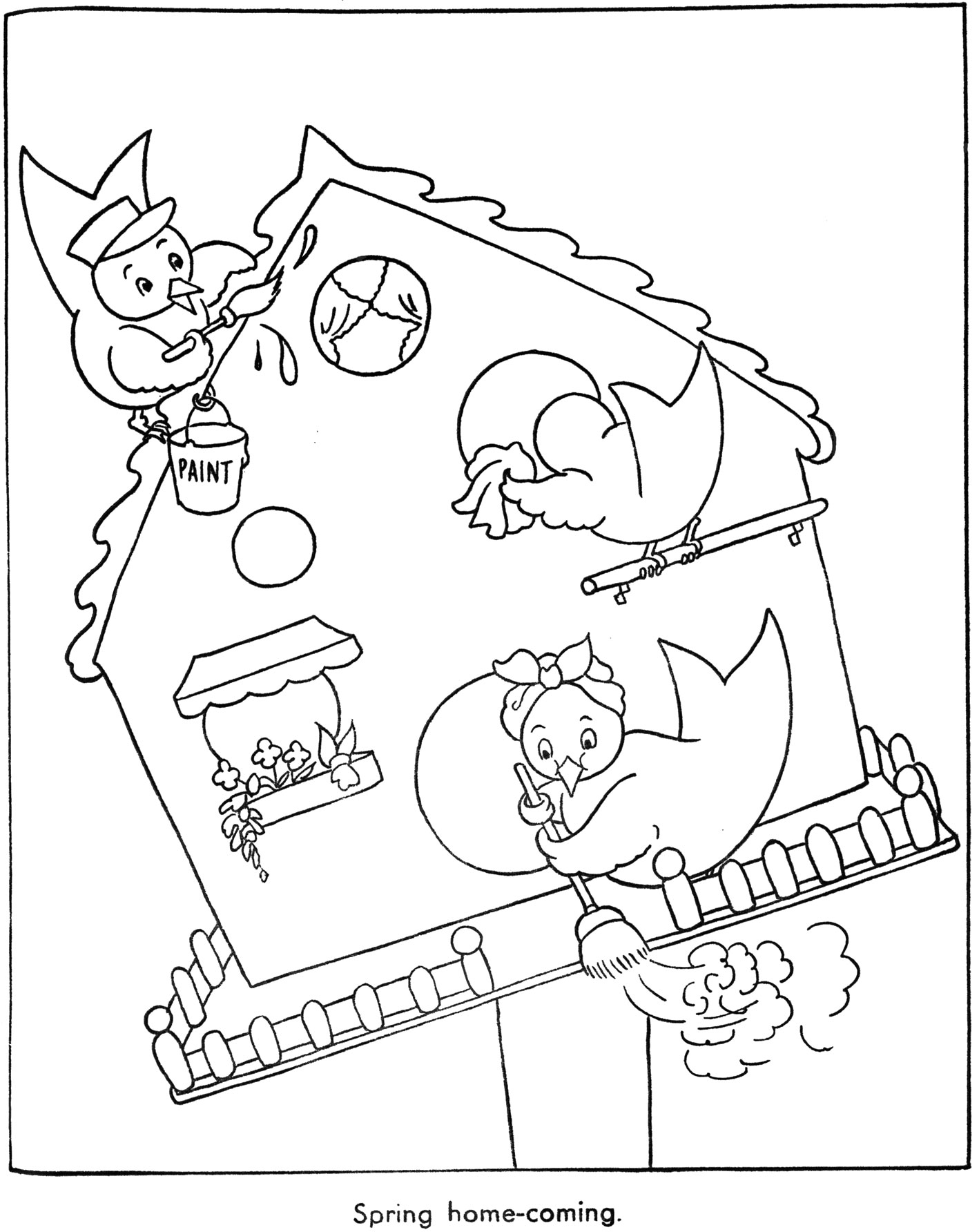 house cleaning coloring pages | Bluebird Houses – Q is for Quilter