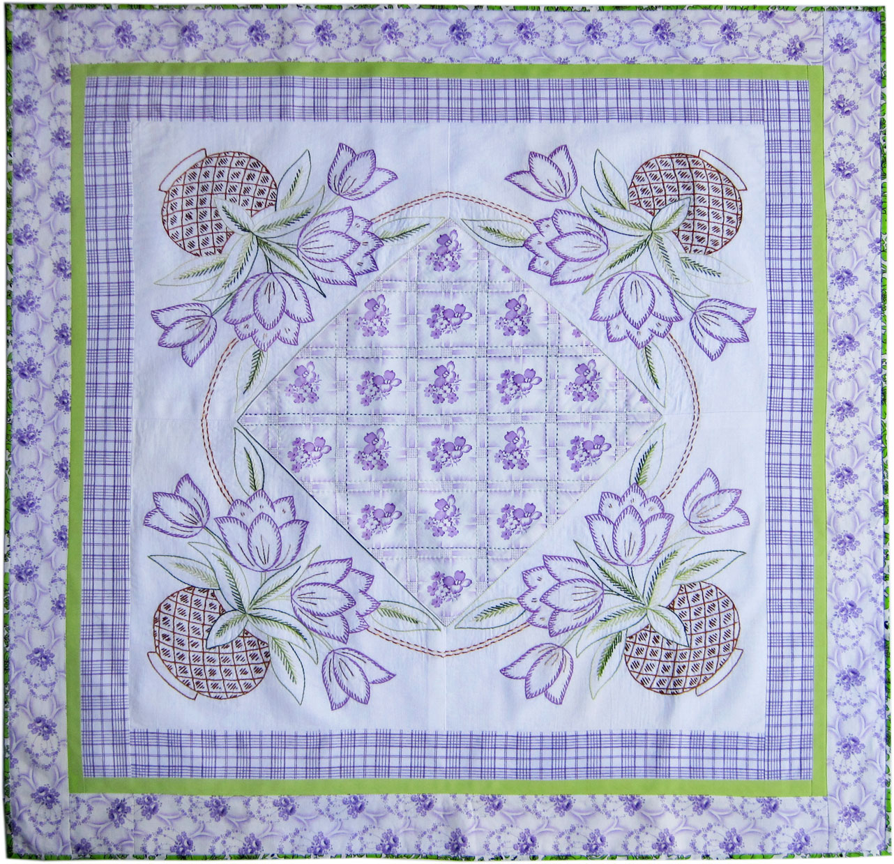 Vintage embroidered tulip tablecloth remade q is for quilter