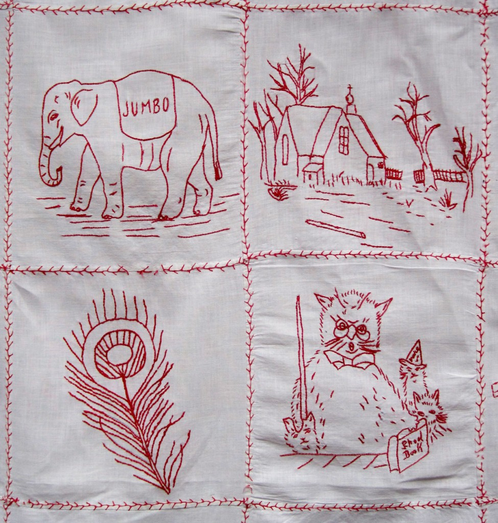 Antique redwork tablecloth q is for quilter