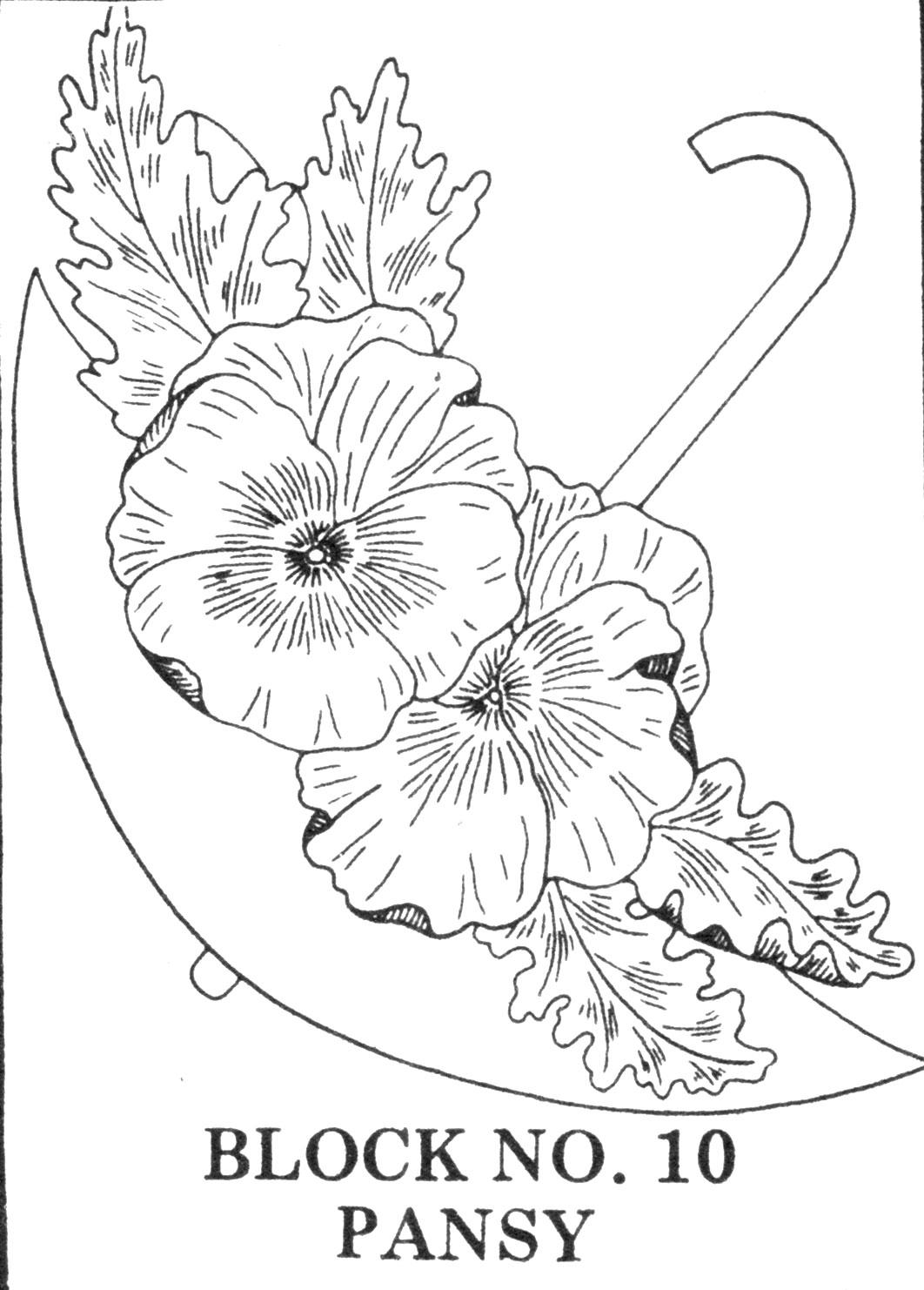 Umbrella Bouquets Applique Embroidered Quilt Pattern Q