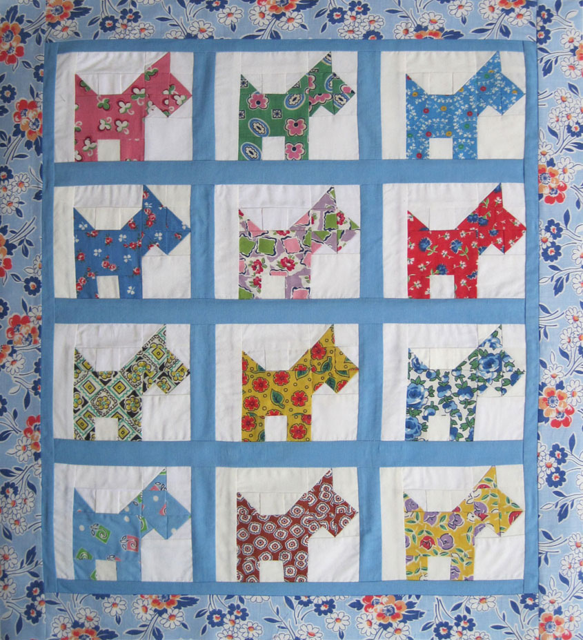Quilt Pattern For Scottie Dog : Pieced Scottie Quilt Top 1940s prints Q is for Quilter