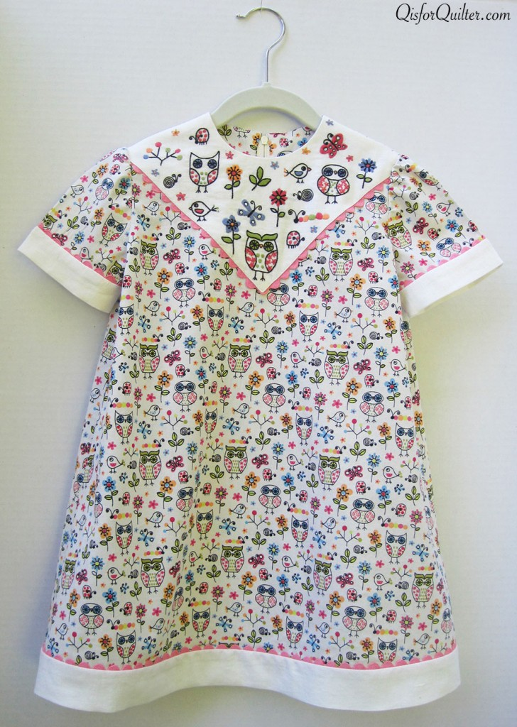 Toddler dress with hand embroidered yoke q is for quilter