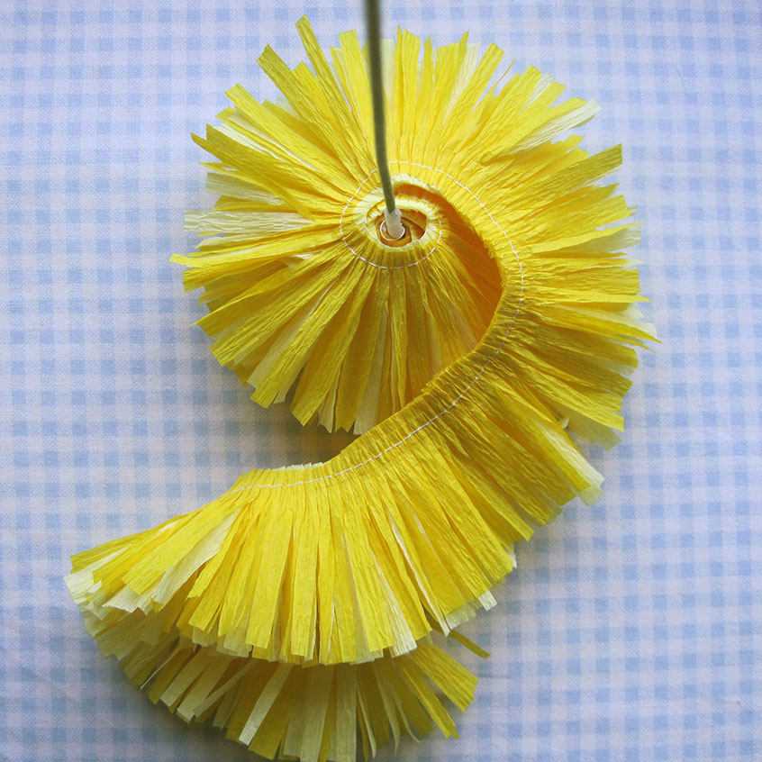 Crepe paper flowers using streamers and a ruffler foot tutorial cut mightylinksfo