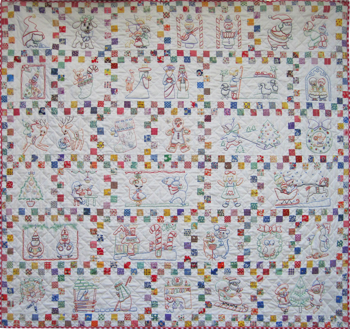 Santa S Follow The Colors Embroidered Quilt Finished Q