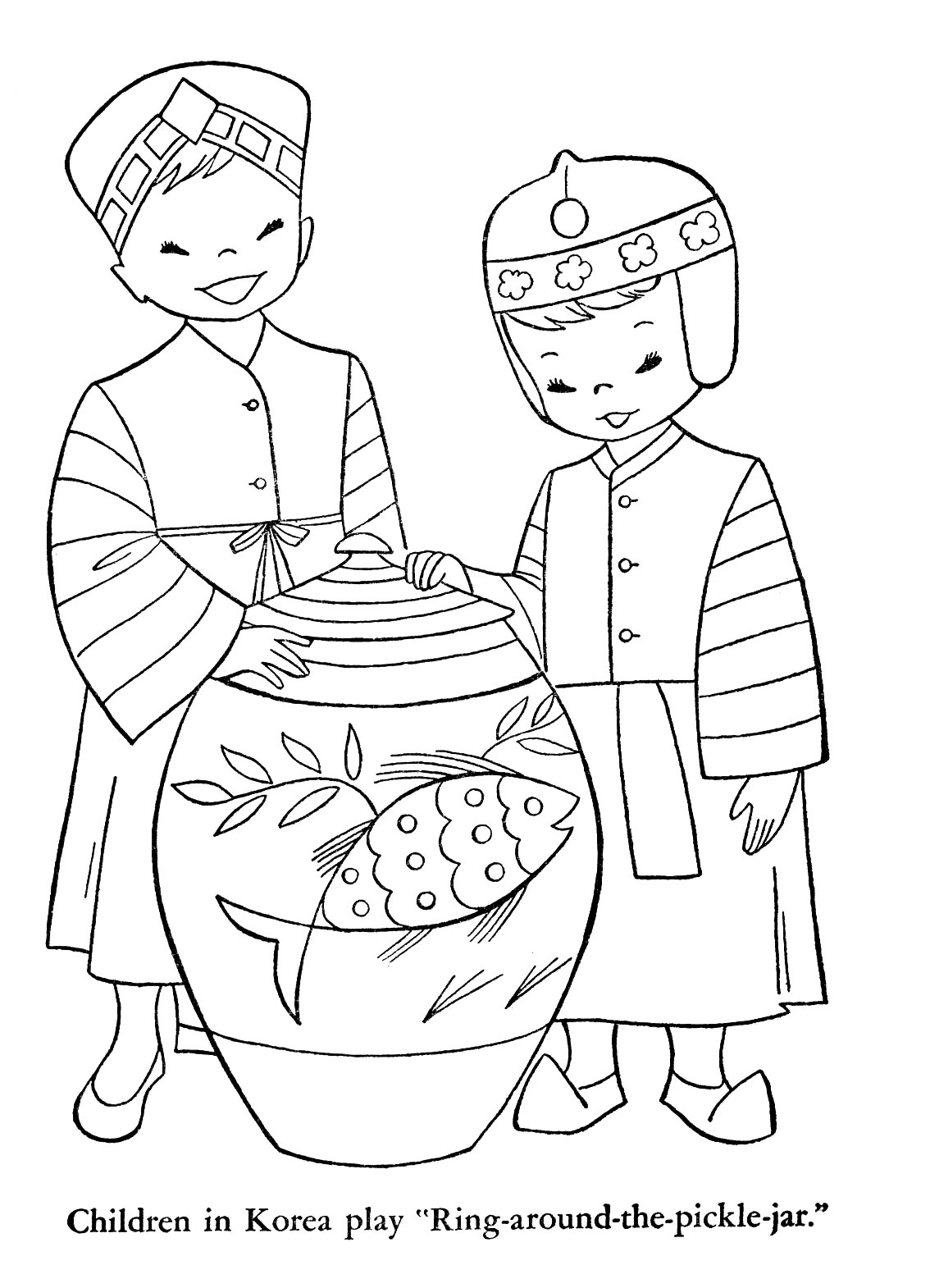 japanese children coloring pages | Children of Other Lands, 1954 — Japan, China, India, Burma ...