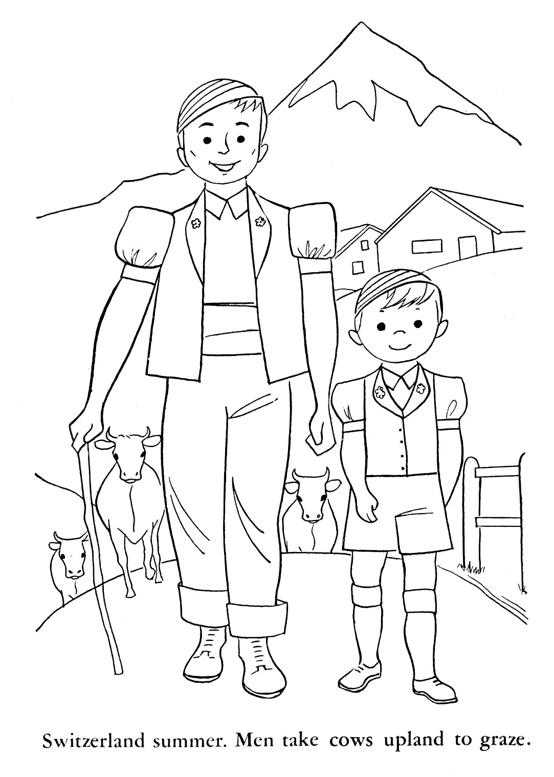 swiss scenes coloring pages - photo#5