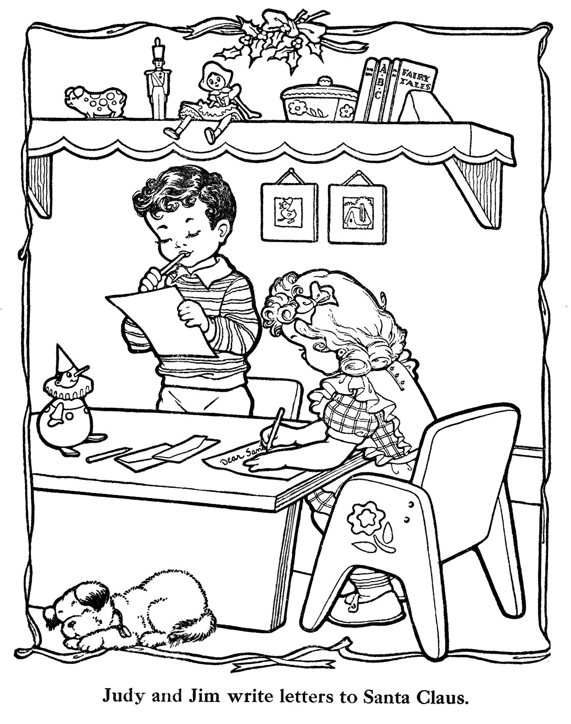 Vintage coloring pages 1950s ~ Countdown to Christmas – 10 Days – Q is for Quilter
