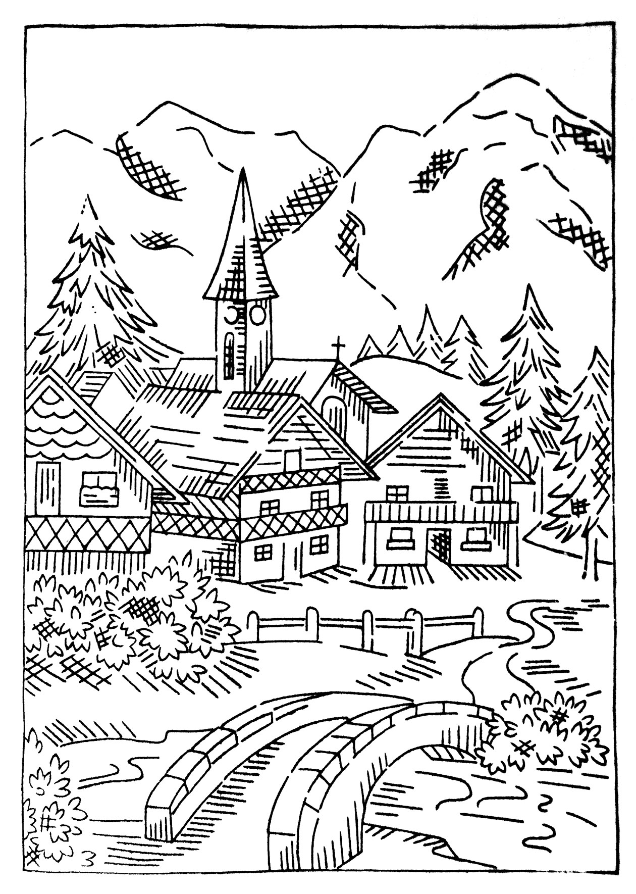 my village pictures coloring pages - photo#1