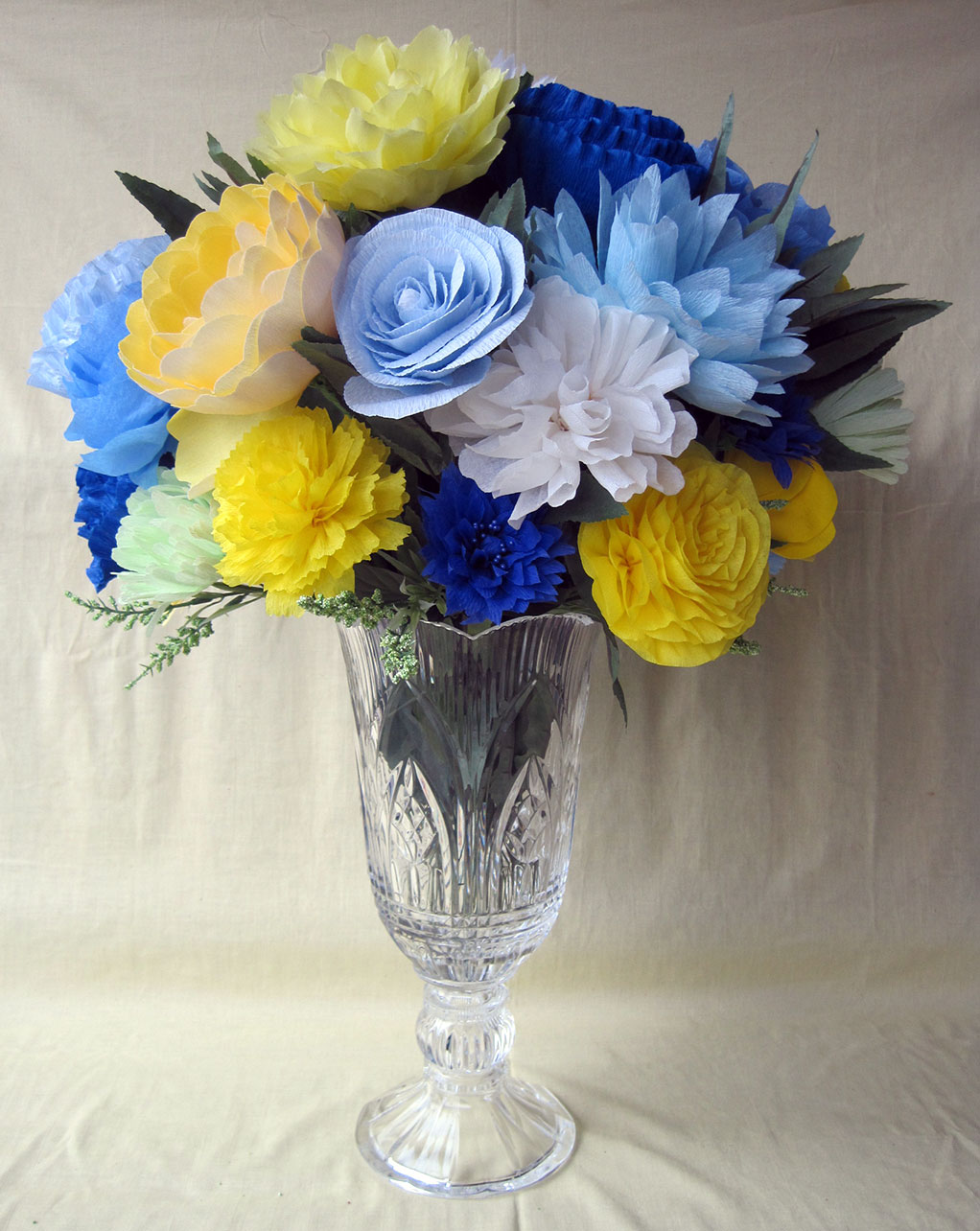 Crepe paper flowers a blue and yellow wedding q is for quilter crepe paper wedding arrangement mightylinksfo