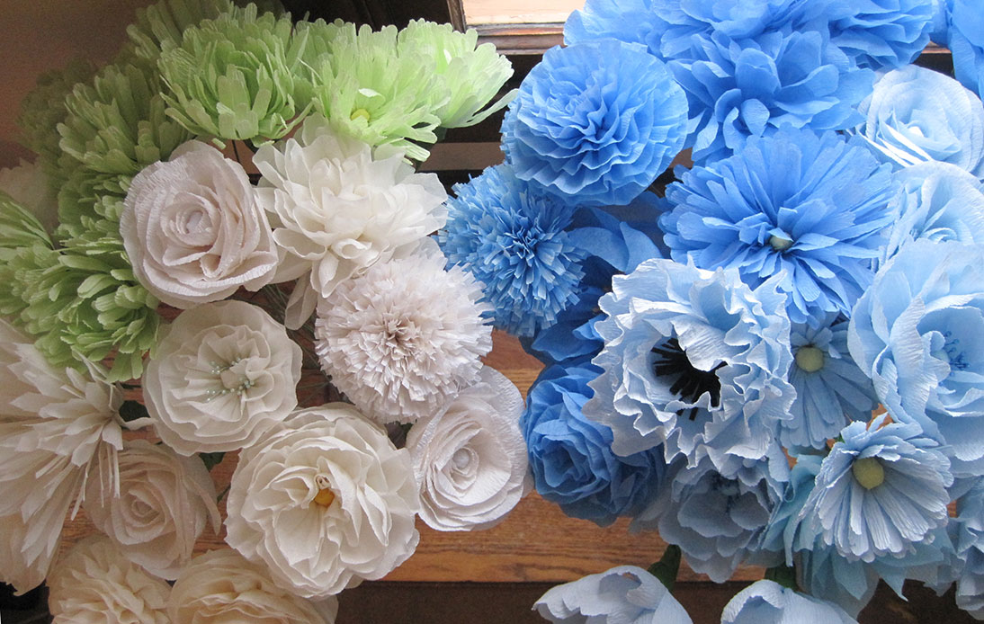 crepe paper flowers a blue and yellow wedding q is for. Black Bedroom Furniture Sets. Home Design Ideas