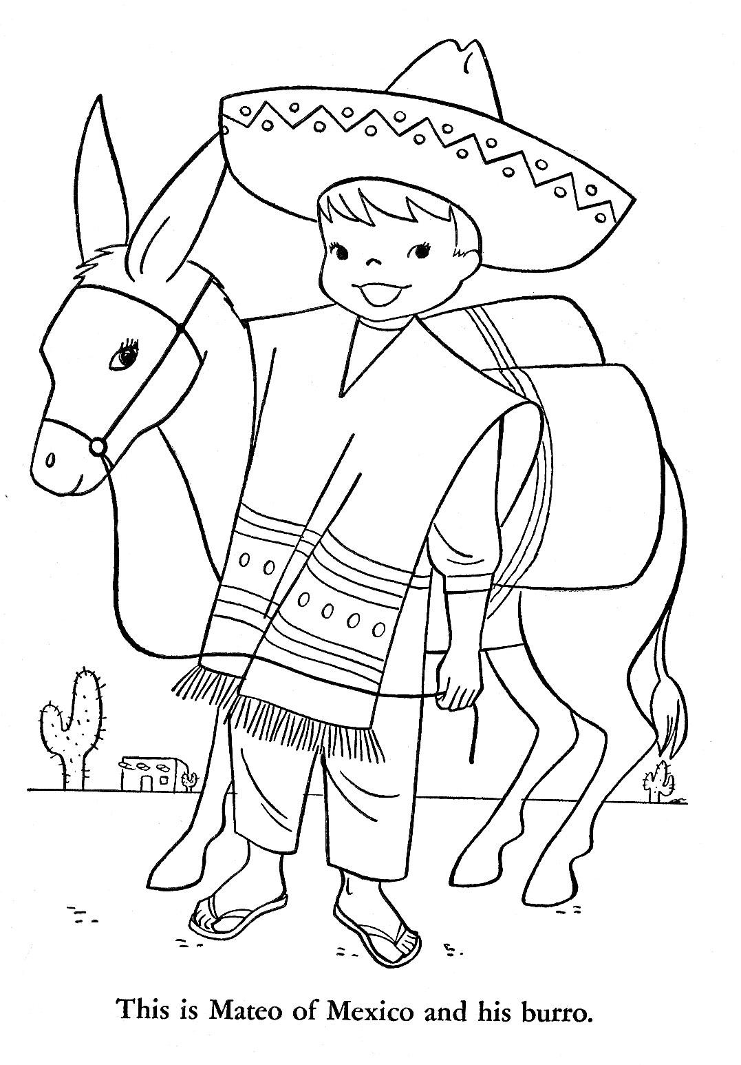 Mexican Boy Coloring Page Sketch Coloring Page
