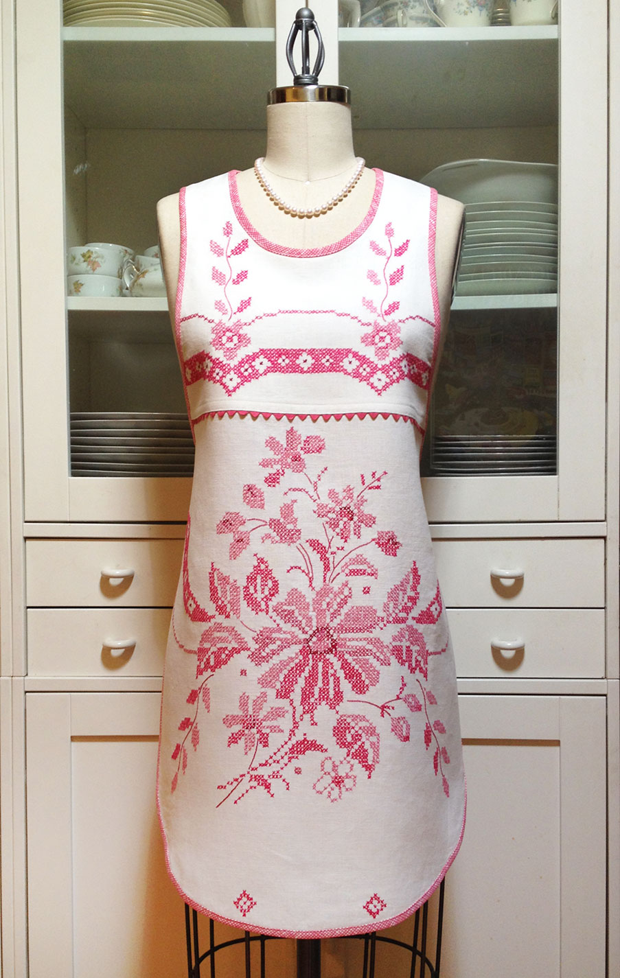 Embroidered-Pink-Apron-front-view
