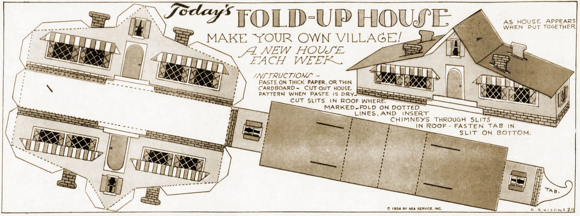 Fold Up Houses Make Your Own Village 1934 Q Is For