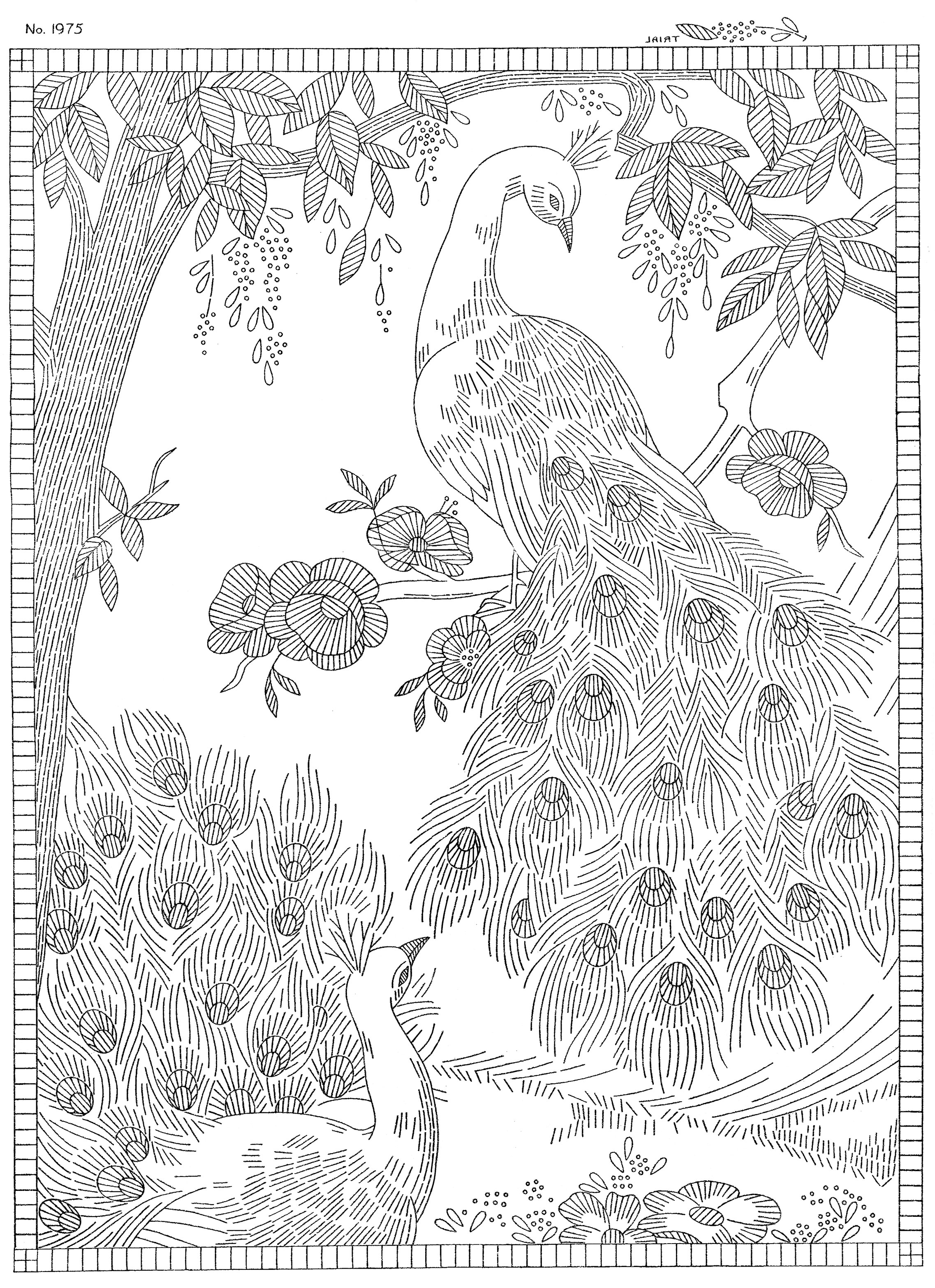 coloring book embroidery laura wheeler design 1975 peacock wall hanging q is