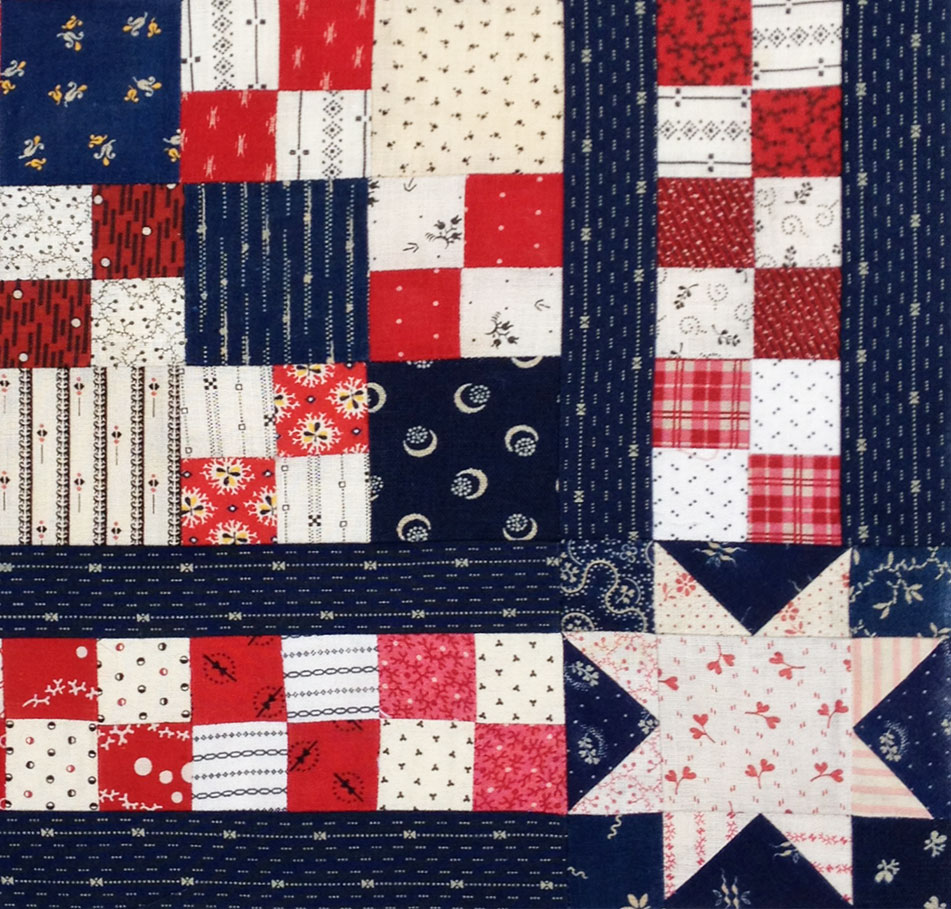 Patriotic-4-patch-doll-quilt-top-detail