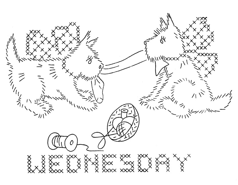 scottie dog coloring page - vintage dog dow embroidery transfers q is for quilter