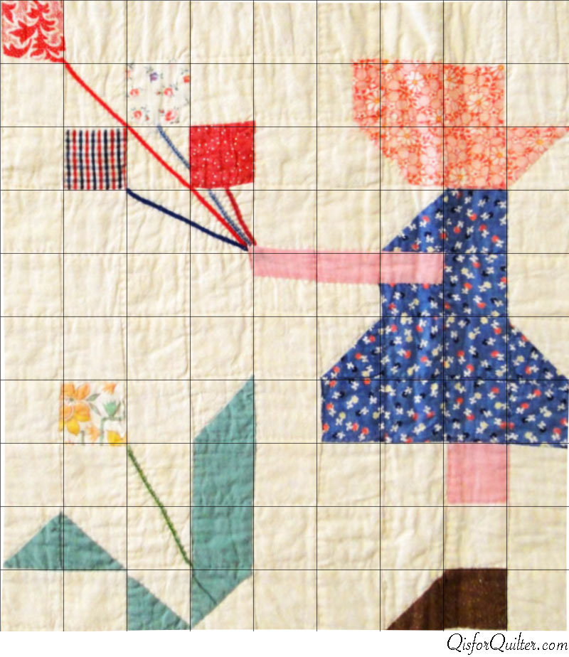 Sunbonnet-Sue-pieced-quilt-block-ebay