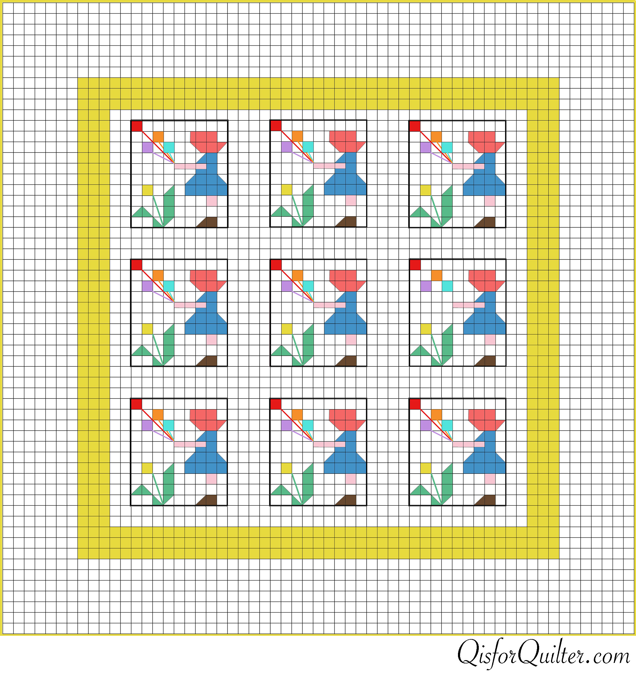 Vintage Sunbonnet Sue Pieced Quilt Pattern Q is for Quilter