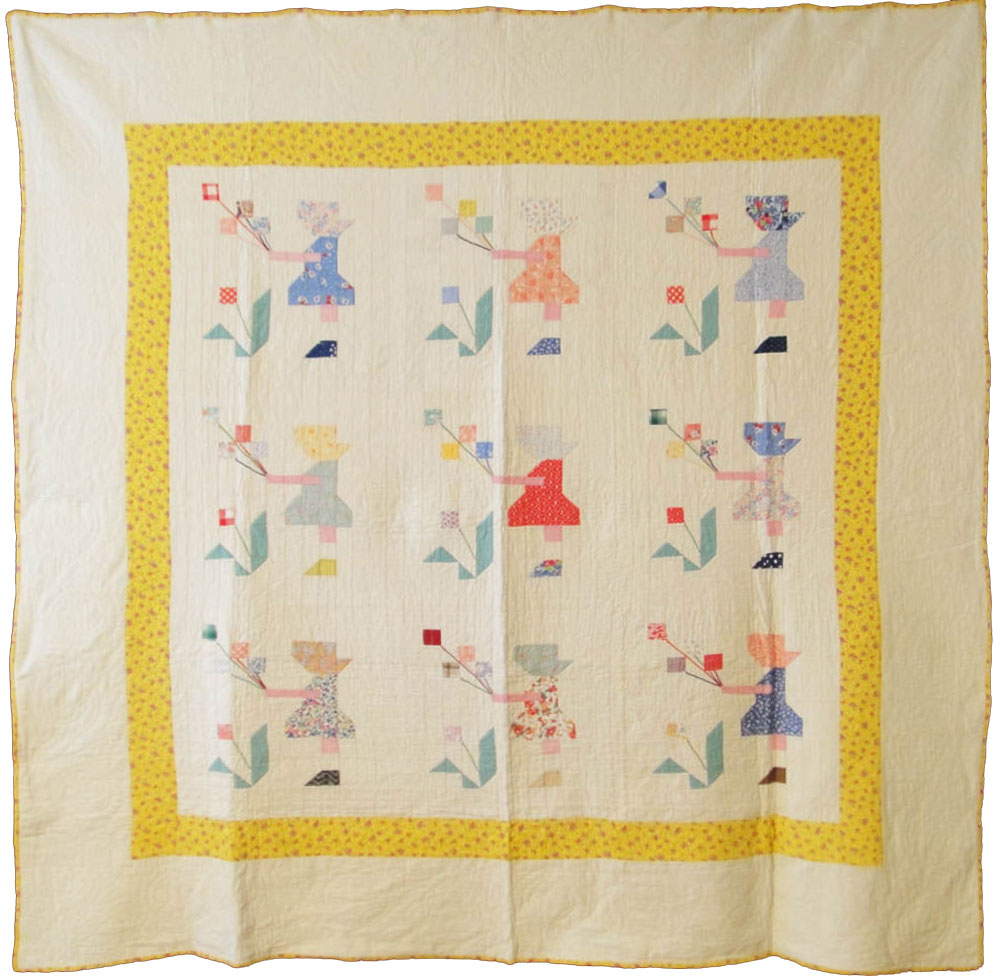 Sunbonnet-Sue-pieced-quilt-ebay