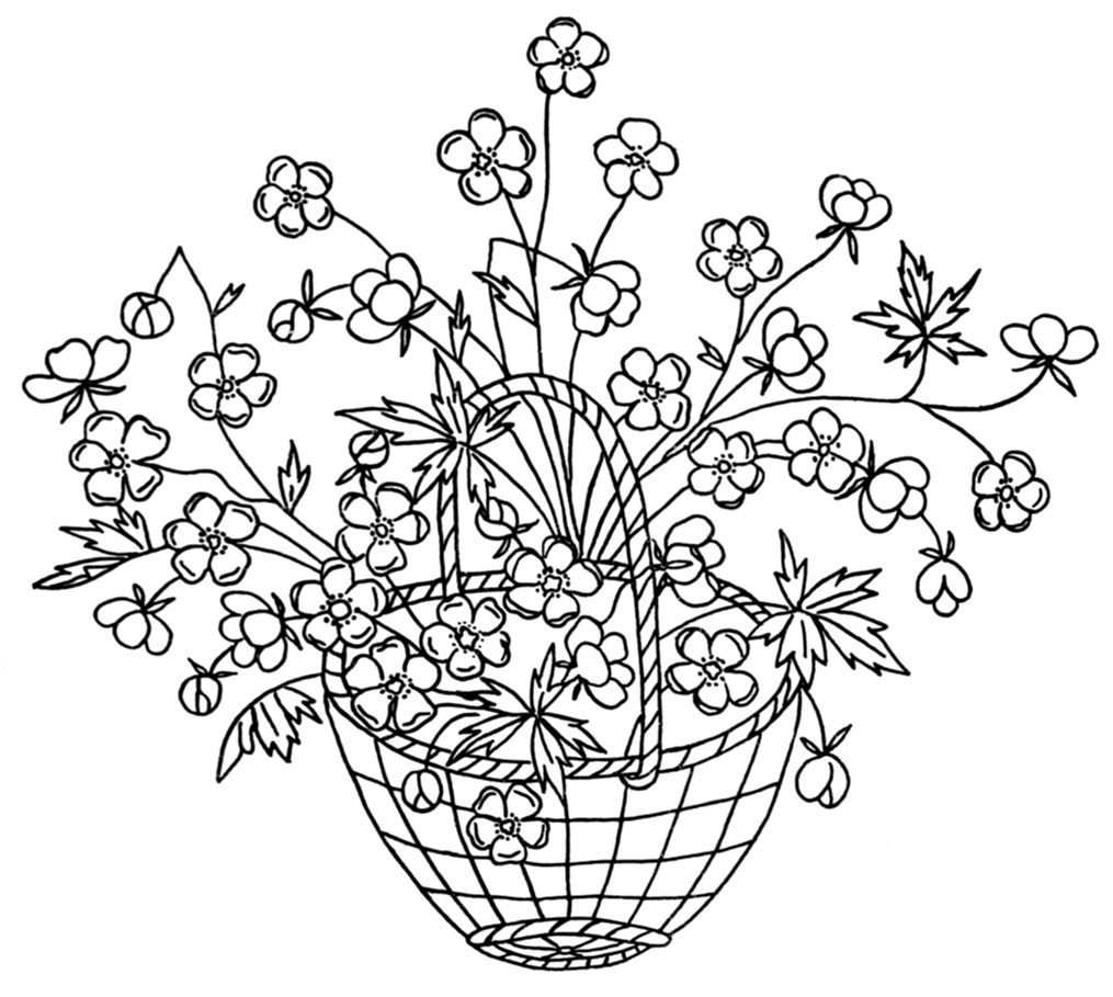How To Draw A Beautiful Flower Basket : Vintage embroidery designs baskets q is for quilter