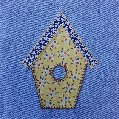 denim quilt birdhouse